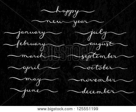 Months of the Year Set. Lettering of january, february, march, april, may, june, july, august, september, october, november, december.