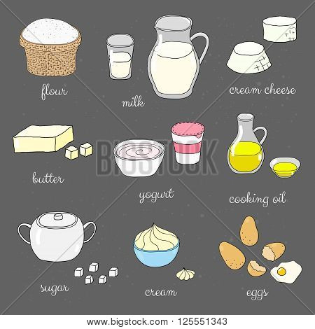 Hand drawn colored baking ingredients on chalkboard. Flour, milk, cream cheese, butter, yogurt, cooking oil, sugar, whipped cream, eggs. Doodle cooking ingredients set.