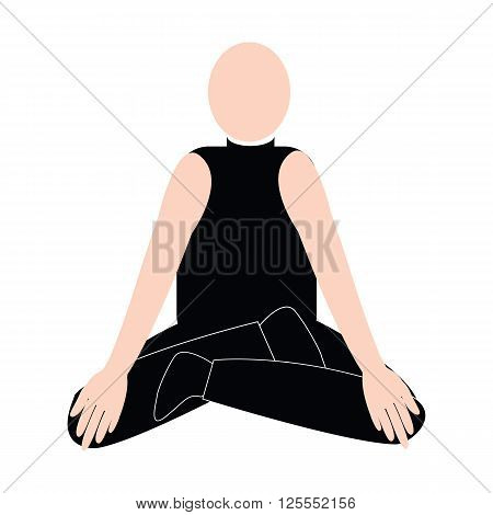 Bald man on meditation yoga with sport shirt and sit for concentrate and relax the mind vector isolated on white backgrounnd