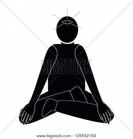 Human with third-eye from meditation in yoga practice symbol icon vector
