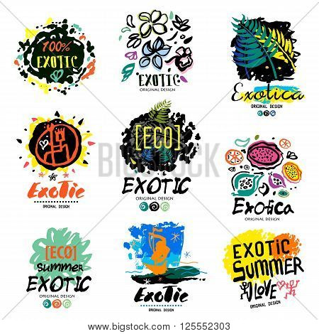Exotic summer logo, illustration. Summer vacation: drawings and symbols painted handmade. Exotic summer holiday sign, icon.