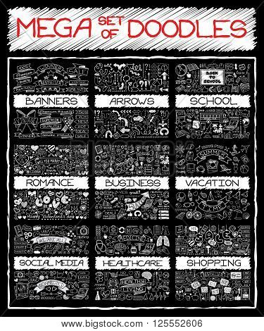 MEGA set of doodles. Chalk board hand drawn symbols. Super collection of banners, arrows, back to school, romantic love, business and finance, vacation, social media, healthcare and shopping elements