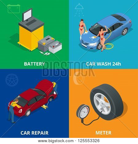 Auto mechanic design concept set with car repair service, auto service computer car diagnostic. flat icons isolated vector illustration.