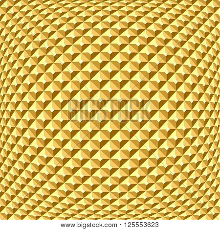 Golden textured background. Checked relief pattern.Vector art.
