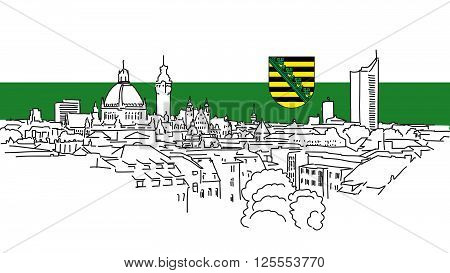 Leipzig Skyline Vector Outline Sketch