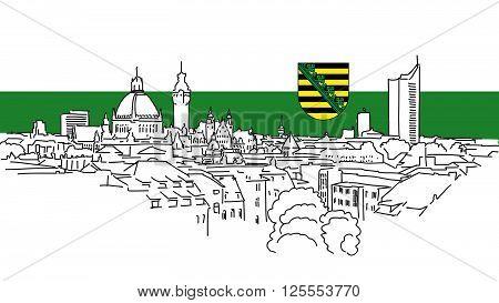 Leipzig Skyline Vector Outline Sketch