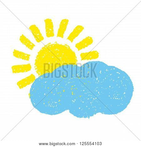 Sun and cloud. Hand painted with oil pastel crayons. Weather forecast, summertime, climate,  meteorology concept. Graphic design element for seasonal poster, greeting card, scrapbooking, children book