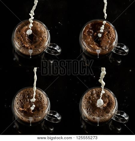 Set of four cups pouring process of milk into glass cup full of cocoa splashes drops and froth around glass cup against black background