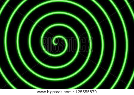 Illustration of a neon green spiral in the middle