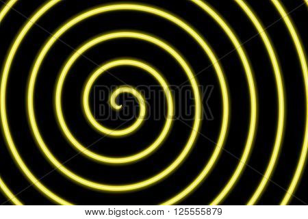 Illustration of a neon yellow spiral in the center