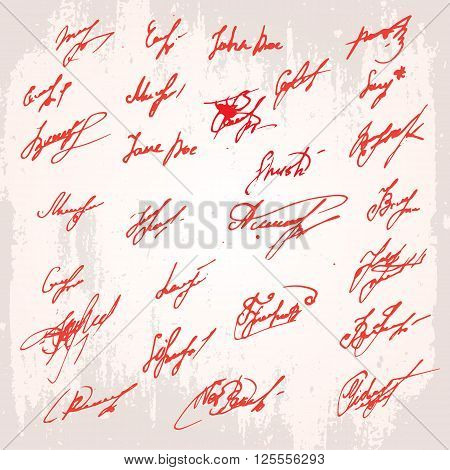 Big Ink Signatures set - group of fictitious contract signatures. Business autograph illustration