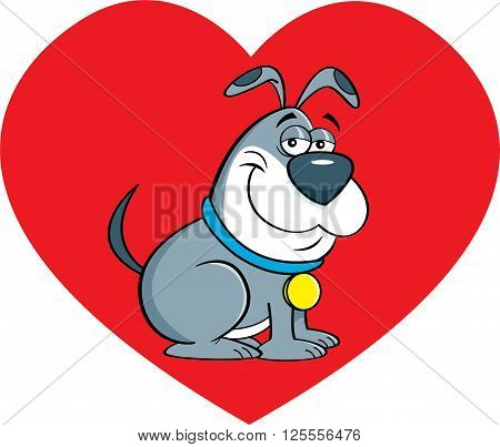 Cartoon illustration of a dog with a heart background.