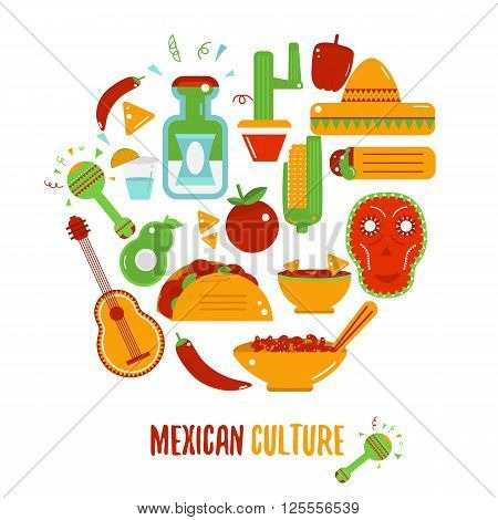 Mexican culture logo for labels, emblems and badges, set of vector design elements.Sombrero and maracas, mexican guitar, tequila bottle, taco logo