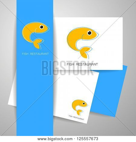 Fish restaurant identity. Seafood logo template.  Template for branding identity, fish restaurant, menu card, invitations, seafood restaurant, restaurant menu. Vector illustration.