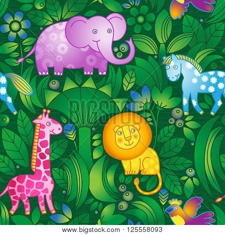 Bright Seamless Pattern With Animals.