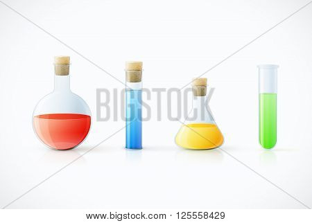 Different  Laboratory Glassware With Color Liquid And Transparent Glass