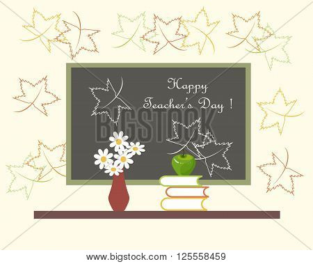 Dark grey blackboard with white lettering Happy Teachers Day, red vase with white flowers, green Apple on books. Light pink background with outlines of maple leaves, vector