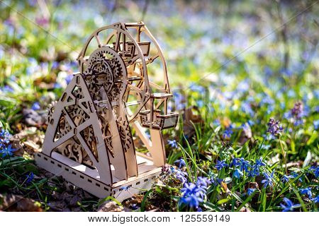 Mechanical 3D Wooden Puzzle Plywood. Ferris wheel
