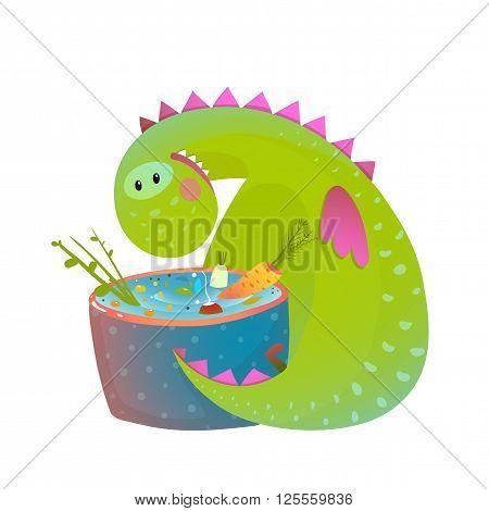 Dinosaur for children, funny happy vegetarian food drawing. Vector illustration.