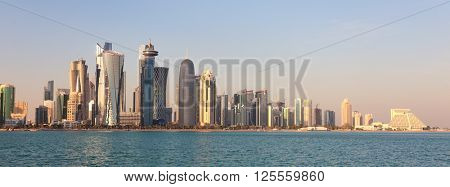 DOHA, QATAR - JANUARY 31, 2016: The city skyline with visible logos on some buildings