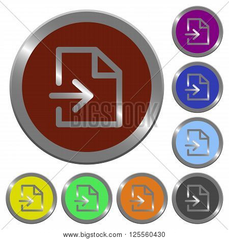 Set of color glossy coin-like import buttons.