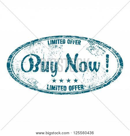 Blue grunge rubber oval stamp with the text buy now written inside the stamp