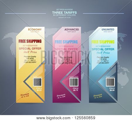 Set web banners. interface for the site. ui ux vector banner for web app. Pastel pricing table, banner, order, box, button, list and bullet with plan for website in flat design