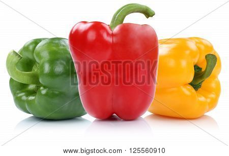 Red Yellow Green Bell Pepper Peppers Paprika Paprikas Vegetable Isolated On White
