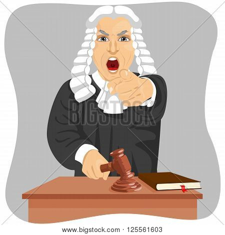Angry judge yelling and pointing his finger at someone knocking gavel isolated on gray background