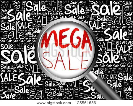 Mega Sale Word Cloud With Magnifying Glass