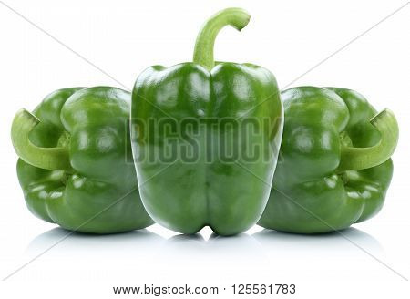 Green Bell Pepper Peppers Paprika Paprikas Vegetable Isolated On White