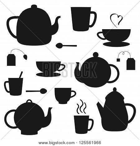 Vector set of black tea pots and cups silhouettes