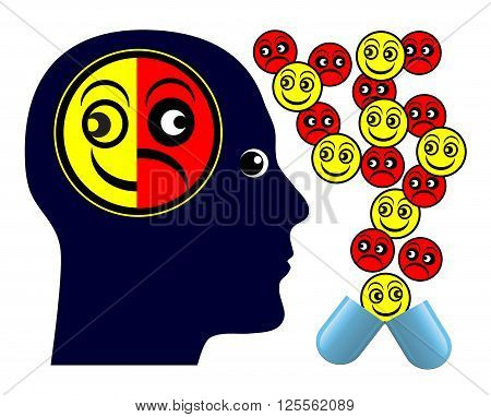 Negative Side Effects. Patient taking medication with negative aftereffects
