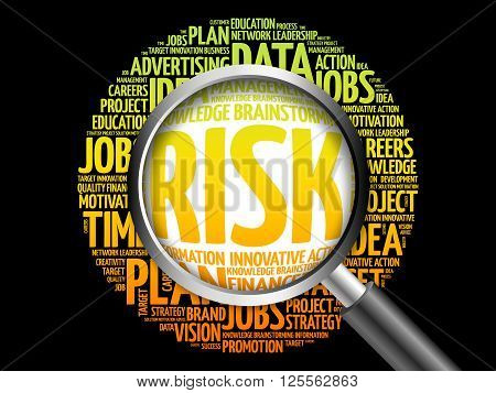 Risk Word Cloud With Magnifying Glass