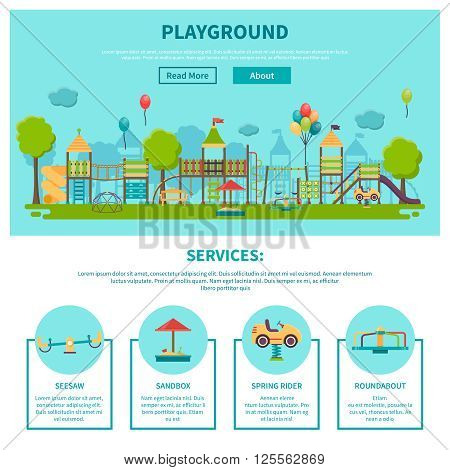 Color illustration web site page about outdoor games showing different playground services seesaw sandbox spring rider roundabout vector illustration