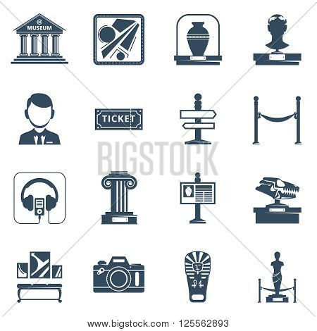 Museum flat icon set with black silhouette  symbols of museum interior exhibit and special signs vector illustration