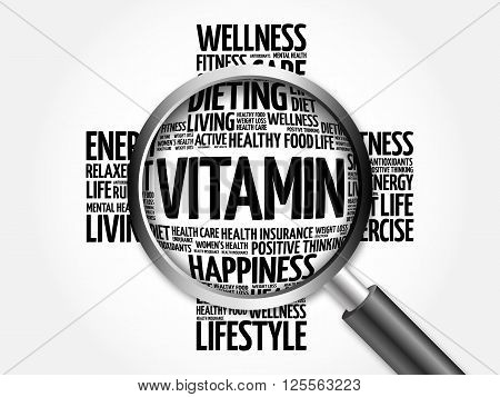 Vitamin Word Cloud With Magnifying Glass