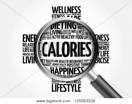 Calories Word Cloud With Magnifying Glass