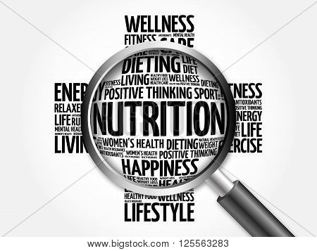 Nutrition Word Cloud With Magnifying Glass