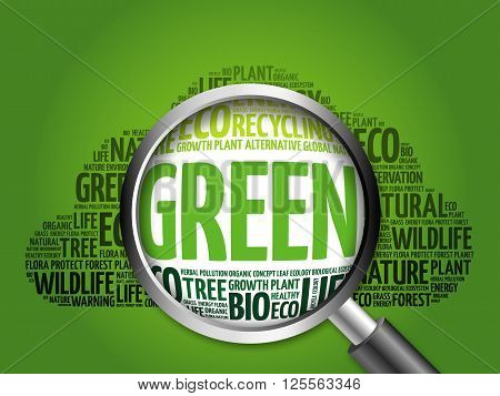 Green Word Cloud With Magnifying Glass