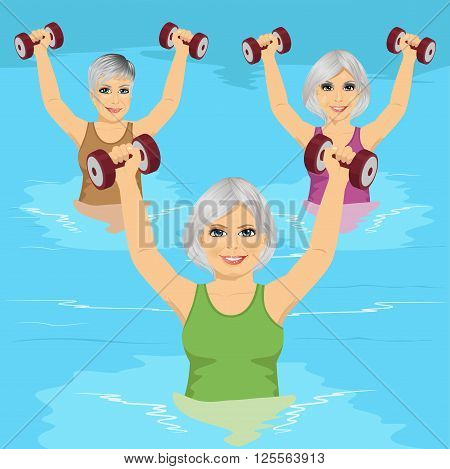 group of senior women making aqua gym exercises with dumbbells in swimming pool