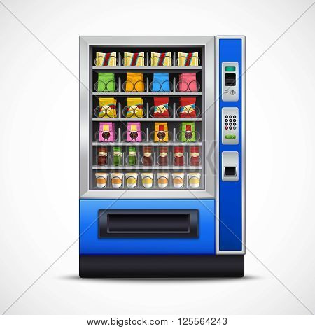 Realistic snacks vending machine with nuts chips sandwiches chocolates and beverages on white background isolated vector illustration