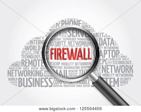 Firewall Word Cloud With Magnifying Glass