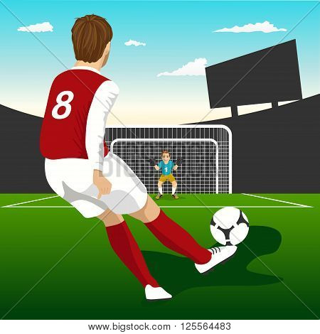 back view of soccer player taking penalty kick