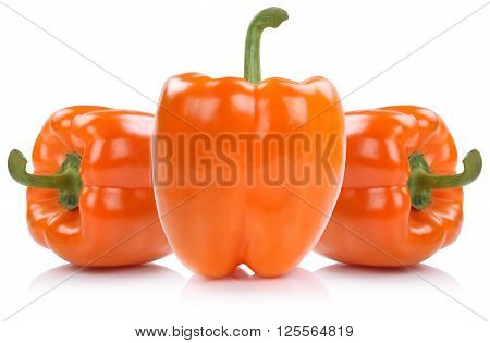 Orange Bell Pepper Peppers Paprika Paprikas Vegetable Isolated On White