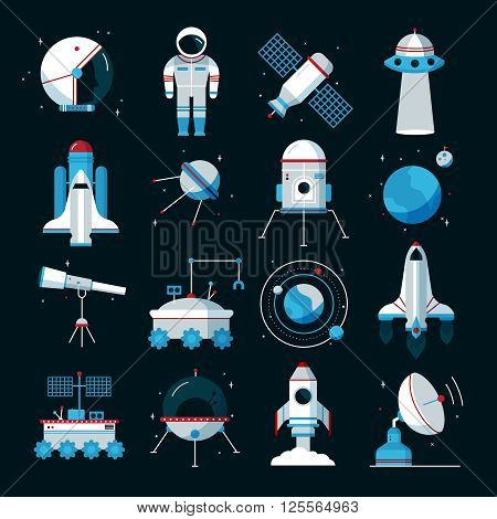 Spacecrafts flat icons set with cosmonaut space suit and equipment with black background poster abstract vector illustration