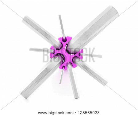 Hexagonal key iron tool for construction isolated on white background