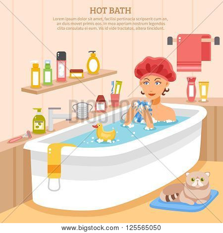 Hot bath poster with woman in soapy water cat on mat and hygiene items vector illustration