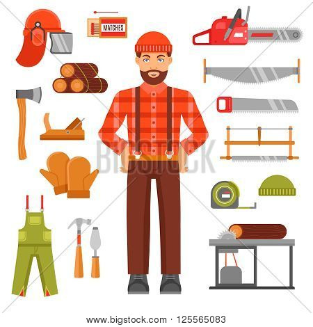 Lumberjack decorative flat icons set with avatar of woodcutter timber saws matches casque overall isolated vector illustration