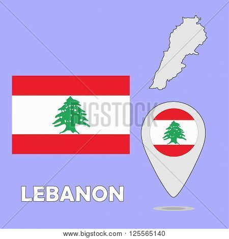 A pointer map and flag of Lebanon